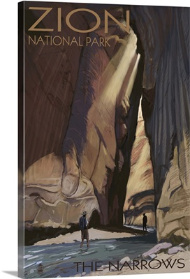 Zion National Park - The Narrows: Retro Travel Poster