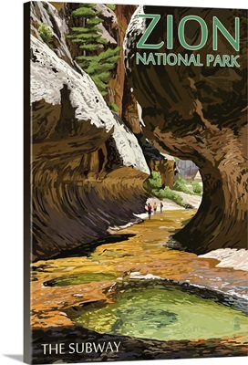 Zion National Park - The Subway: Retro Travel Poster