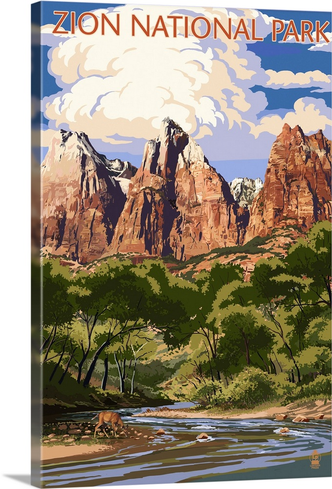 Zion National Park Virgin River And Peaks Retro Travel Poster Wall Art Canvas Prints Framed Prints Wall Peels Great Big Canvas