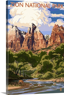 Zion National Park - Virgin River and Peaks: Retro Travel Poster