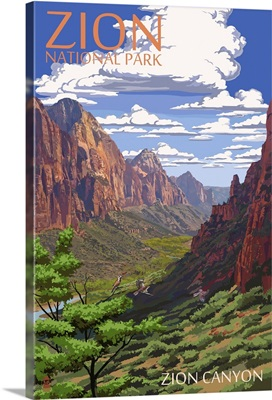 Zion National Park - Zion Canyon View: Retro Travel Poster