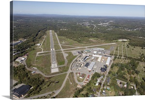 Augusta State Airport Maine Aerial Photograph Wall Art