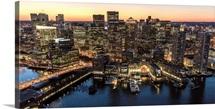 Boston At Night, Massachusetts (MA) - Aerial Photograph