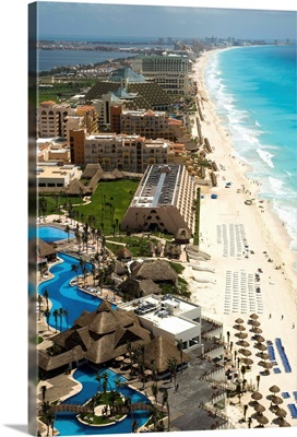Cancun Hotel District, Cancun, Mexico - Aerial Photograph