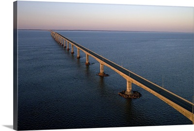 Confederation Bridge At Sunset, New Brunswick, Canada - Aerial Photograph