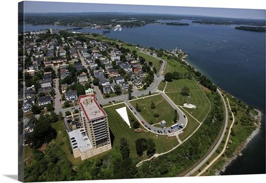 Eastern Promenade Portland Maine Usa Aerial Photograph Wall Art