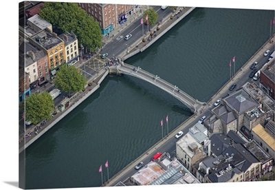 Half Penny Bridge, Dublin, Ireland - Aerial Photograph