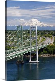 Tacoma Narrows Bridge, Washington - Aerial Photograph