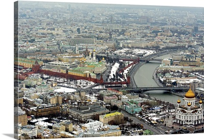Moscow, Russia. Cathedral of Christ the Saviour and Moscow Kremlin