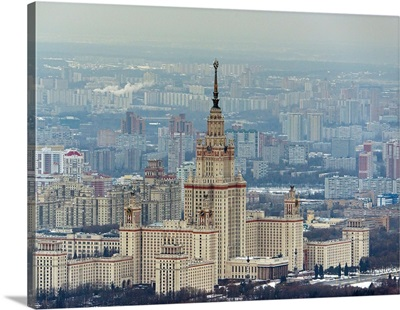 Moscow, Russia. Moscow State University building on Vorobiyovy Gory