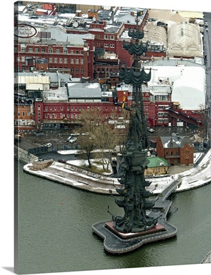 Moscow, Russia. The Peter the Great Statue is a 98-metre-high monument