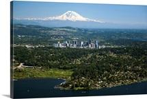 Mount Rainier, Lake Washington, Bellevue Skyline, Bellevue, WA - Aerial Photograph