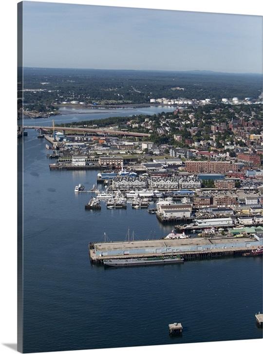 Old Port Portland Maine Usa Aerial Photograph Wall Art Canvas