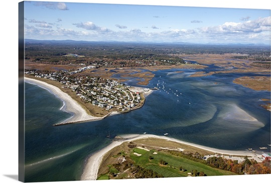 Pine Point Beach Scarborough Maine Usa Aerial Photograph