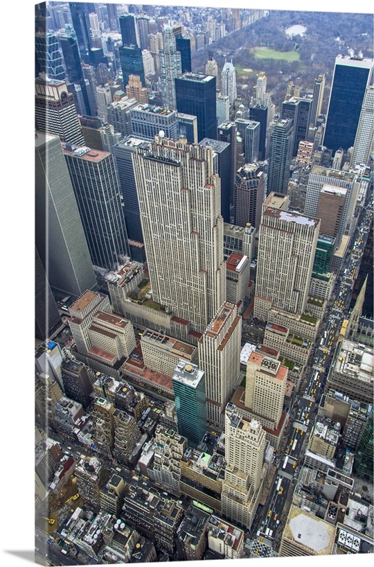 New York City Canvas Wall Art rockefeller center, rockefeller plaza, new york city - aerial