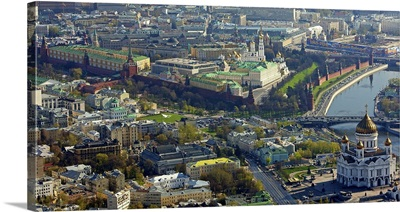 Russia, Moscow. Moscow Kremlin and the Cathedral of Christ the Saviour