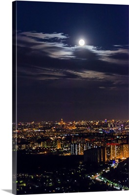Russia, Moscow region. Aerial view of Moscow at night.