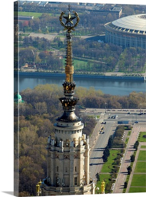 Russia, Moscow. Spire of Moscow State University, Seven Sisters