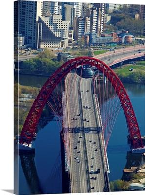 Russia, Moscow. Zhivopisny (Picturesque) Bridge