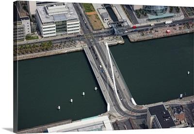 Samuel Beckett Bridge, Dublin, Ireland - Aerial Photograph