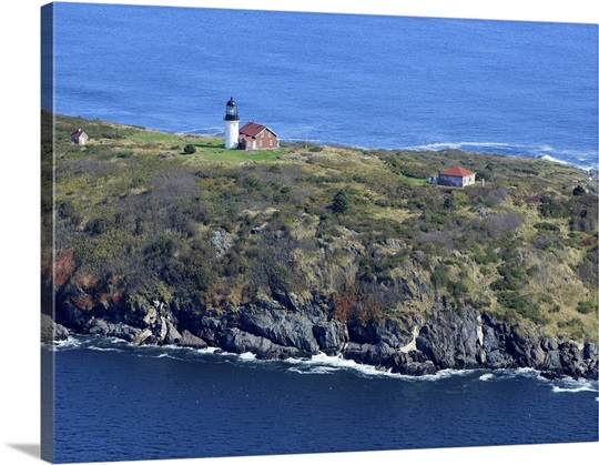 Seguin Island Lighthouse Georgetown Maine Usa Aerial