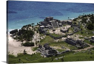 The Maya Ruins of Tulum, Quintana Roo, Yucatan Peninsula, Mexico - Aerial Photograph