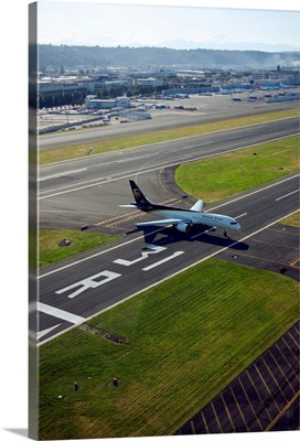 UPS plane taxis at Boeing Field, Seattle, WA - Aerial Photograph