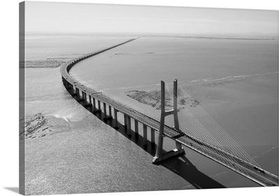 Vasco de Gama Bridge, Lisbon, Portugal - Aerial Photograph