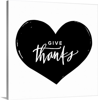 Give Thanks Heart - White