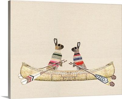 Boho Rabbits in a canoe