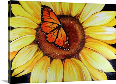 Sunflower and Butterfly By Marcia Baldwin