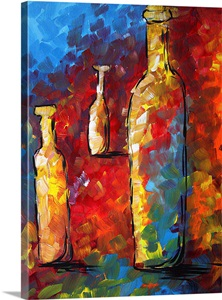 Bottled Dreams Contemporary Wine Bottle Painting Wall