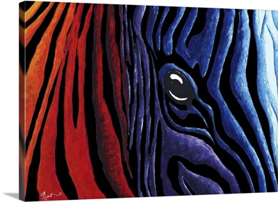 Colorful  Zebra With Black - Contemporary PoP Art Zebra Painting