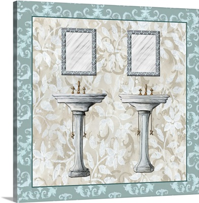 Mirror And Sinks with blue tile border