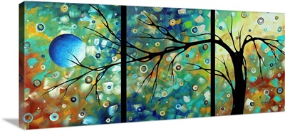 Morning Blues Black Back - Abstract Art Landscape Painting