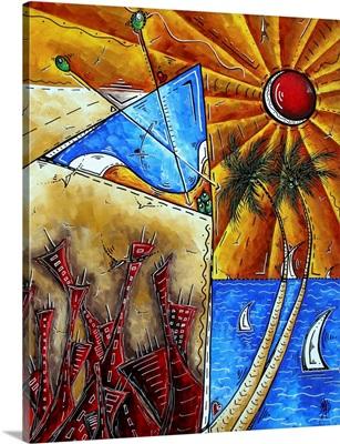 Ocean View - Contemporary Coastal Sailboat Painting