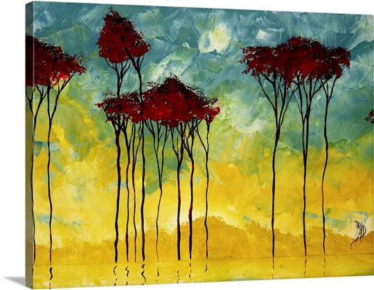 On The Pond - Abstract Landscape Water Painting Wall Art, Canvas ...