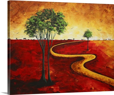 Road To Nowhere II - Red Landscape Painting