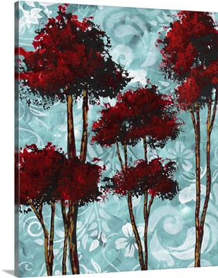 Turquoise Florals I Red Trees