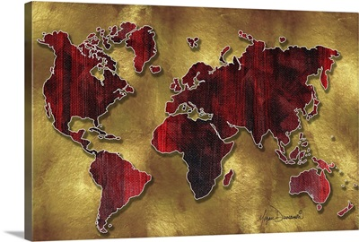 World Map I Red and Gold