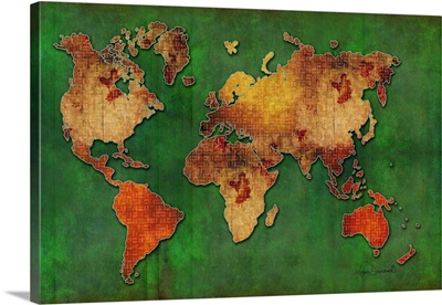 World Map I Red and Gold Floral Grunge