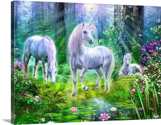 Forest Unicorn Family I Wall Art Canvas Prints Framed
