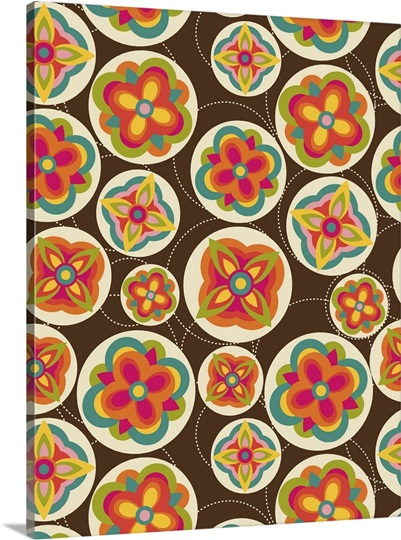 Funky Flowers Pattern Wall Art, Canvas Prints, Framed ...