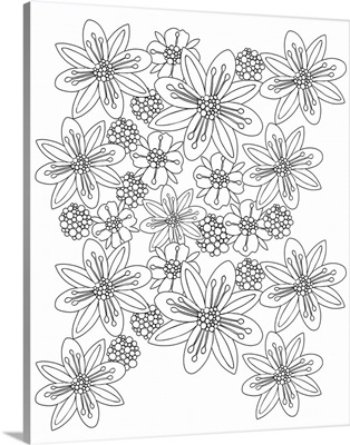 Space Flowers - Black and White