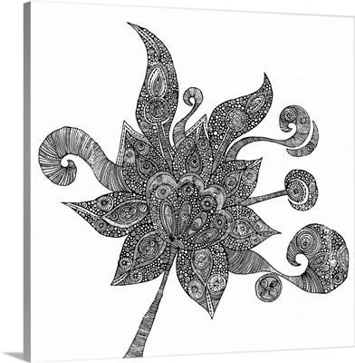 Spring Flower - Black and White