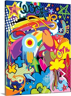 Stars and Rainbow Pop Art