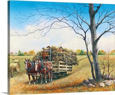 The last harvest - horses and haywagon