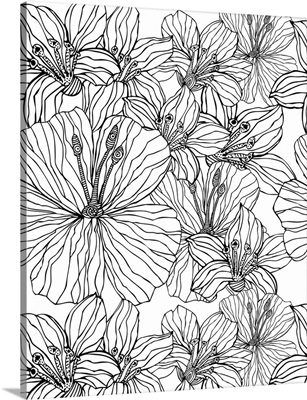 Tropical Flowers - Black and White