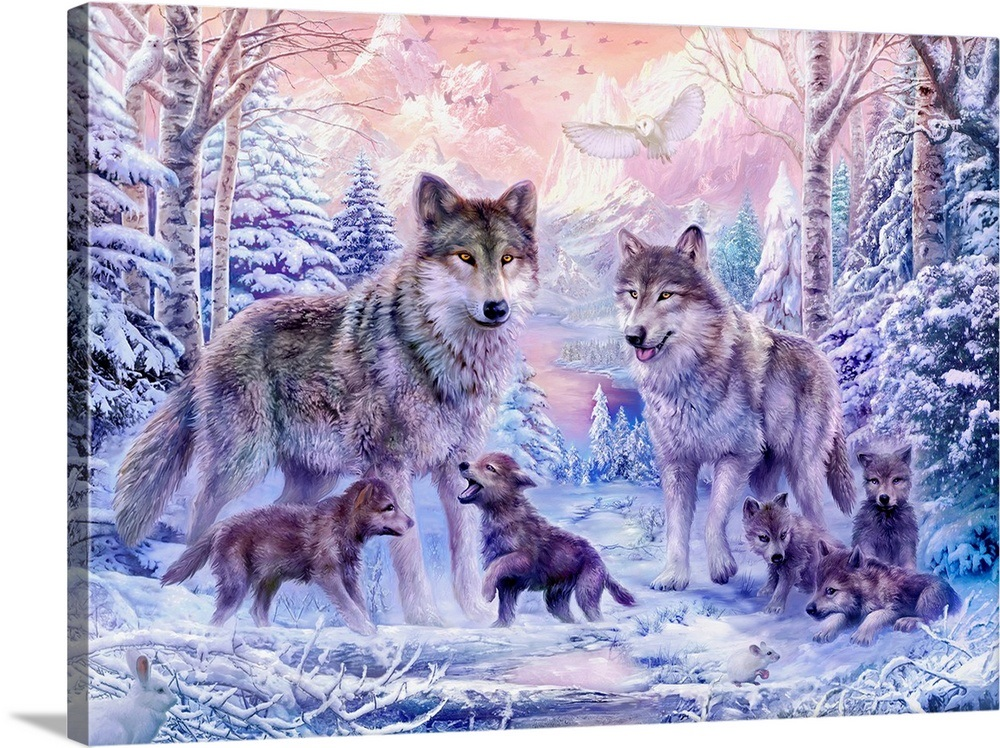 Winter Wolf Family Wall Art Canvas Prints Framed Prints