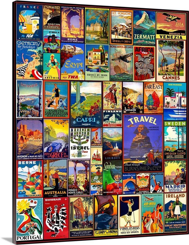 world travel posters wall art canvas prints framed